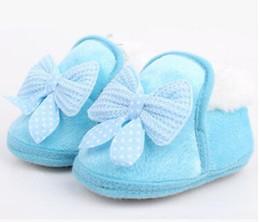 Wholesale-2018 New Faqshion Toddler Warm First Walker Butterfly-not Winter Boots Soft Sole Prewalker Zapatos para bebés desde fabricantes