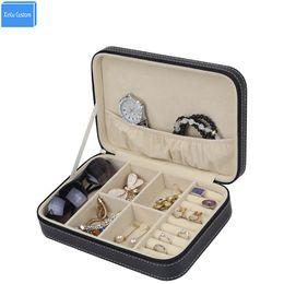 Wholesale Zipper Watch - 2017 Cool Outdoor Sport Tracvel Portable Box Women Bag Case Black Sew Leather Zipper Sunglasses Jewelry Watch Free Change Box