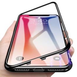 Caja magnética de lujo del teléfono de la adsorción para el iPhone X 8 7 más PC Protector de la pantalla de la absorción del imán de la PC Tempered Glass Flip Cover desde fabricantes