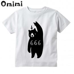 Wholesale Hip Cm - Boys Girls 666 bear Satan Design T-shirts Kids Short Sleeve White T shirts Children's Hip Hop Swag Clothing Tops