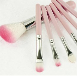 Wholesale Mini Nylon Brush - 7PCS SET Mini Makeup Brush Set Professional Make Up Brushes Eyebrow Eyeliner Powder Brushes Tools pink black green blue Color 3001129