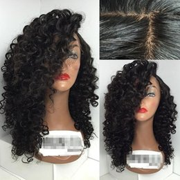 Wholesale Curly Silk Top Lace Wig - Kinky Curly Malaysian Human Hair Silk Base Wig Lace Front Wig Curly Silk Top Glueless Full Lace Wig with Baby Hair