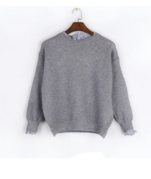 Wholesale False Knitting - Winter caramel color knit sweater shirt sleeved T-shirt sweater female two false thickened