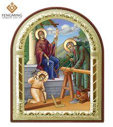 2019 pinturas religiosas Regalo bizantino El santo capítulo ortodoxo icono foto marco decoración del hogar de metal plateado plateado en plástico católico pinturas religiosas pinturas religiosas baratos