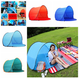 Wholesale Portable Beach Tents - 4 Colors Outdoor Quick Automatic Opening Tents Summer Portable Pop Up Beach Camping Fishing Tents For 2-3 Person Kids Shade Tent AAA525