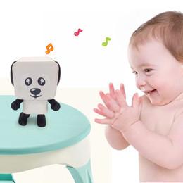 Wholesale Cute Dog Usb - Mini Bluetooth Speaker Dancing Dog Multifunction Stereo Speakers Cute Cartoon Square Smart Robot Dance Dog Speaker New