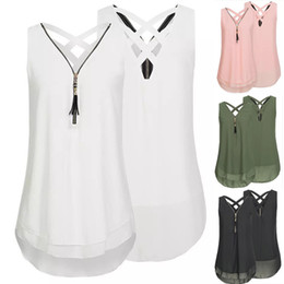 419548a3210 crisscross chiffon Promo Codes - Womens V Neck Sleeveless Tops Summer Tank Tops  Zipper Crisscross Back