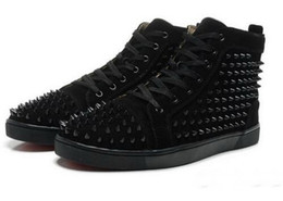 Wholesale cheap footwear for men - Cheap Red Bottom Sneakers for Men with Spikes Black Suede Fashion Casual Mens Shoes ,2017 Men Leisure trainer footwear Women Dress Shoes