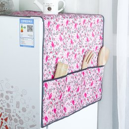 Wholesale Tool Dust Covers - New Flamingo pattern Refrigerator Dust Proof Cover Muti-Functional Fridge Pouch Organizer Storage Bags Dual Purpose Kitchen Tool