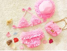 Chapéus de banho para bebês on-line-PROSEA 3 pçs / set Meninas Sweet Lace Bikinis Com Chapéu de Sol Do Bebê Meninas Adorável Swimsuits Swimwear Crianças Maiô Verão Beachwear