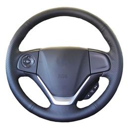 Couro genuíno honda on-line-Tampa do volante do carro de couro genuíno para Honda CRV CR-V 2012-2015 / dedicado guiador roda de trança Trança