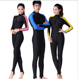 Wholesale Men Suit Garment - Summer Women Men Conjoined long-sleeved Diving clothes prevented bask in jellyfish garment UPF50 snorkeling bathin suit Jumpsuit Swimming