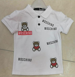 Wholesale kids polo shirts - 2018 Summer Short Sleeves T-shirt High Quality Cotton Cartoon Pattern Fashion Design Polo Collar T Shirts For Kids