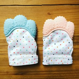Wholesale Washable Food - Food Grade Silicone Teether Mitten Washable Teething Gloves for Baby Shower Gift Gum Pain Relief Sugar Wrapping Sound