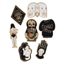 Wholesale suit badges - Enamel Skull Matryoshka Doll Totem Loner Club Love Woman Brooch Pins Suit Shirt Lapel Pin Badge for Women Children Gift drop ship 170895
