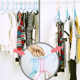 Wholesale Magic Scarf Shirts - Multifunction clothes hanger magic creative dress hanger five holes racks with handle 360 degree rotate save space housekeeping tools