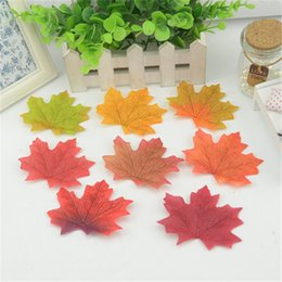 Wholesale Cheap Fake Flowers For Weddings - 100pcs Artificial Silk Maple Leaves Multicolor Fake Flower Leaf For Wedding Party Decoration Background Scrapbooking Craft Cheap