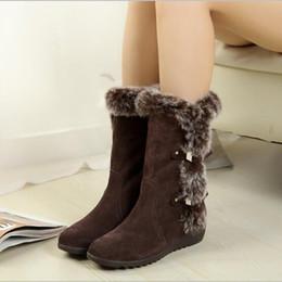 kalbhaarstiefel Rabatt Fashion Warm Snow Schuhe Heißer Verkauf Flache Schuhe Winter Kaninchenhaarstiefel Neue Frauen Mid-Calf Stiefel Frauen zapatos mujer
