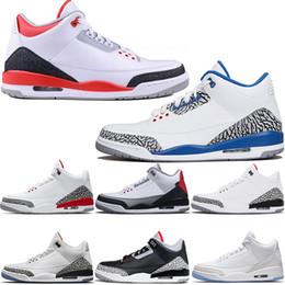 online retailer 85b76 b8e2d Nike Air Jordan 3 3s Retro Basketball Schuhe Männer Katrina Tinker JTH NRG  Schwarz Zement Freiwurf Linie Pure White True Blau Rot Herren Athletisch  Sport ...