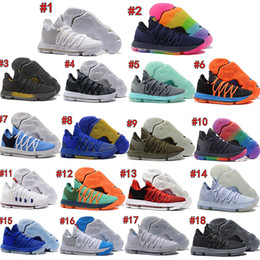 wholesale dealer 4abb7 1e890 Correct Version KD Athletc 10 EP Basketball Sneaker Shoes for Top quality Kevin  Durant X kds 10s Rainbow Wolf Grey Sports USA 7-12