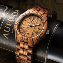 Wholesale Antique Brown - LeeEv Ev1001 Natural Handmade Zebra Sandal Wooden Watches For Men Luxury Watch MIYOTA Quartz Retro Antique Sandalwood Relogio