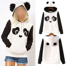 Wholesale panda tops - S -3xl Cute Cotton Blended Women 'S Panda Fleece Pullover Hoodie Sweatshirts Hooded Coat Tops Hot !