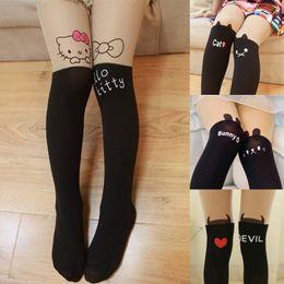 e824e4524 Children clothes Kids Girls Leggings Cute Pantyhose Lovely Cartoon hello  cat bunny kitty Tattoo Velvet Stocking Child leg warmer