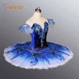 Figurinos de ballet clássico on-line-Pássaro azul tutu meninas adultas profissional ballet tutus azul adulto traje de balé clássico para as mulheres panqueca saia tutu