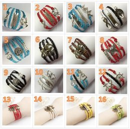 Wholesale Antique Peach - 30pcs 58 Designs Leather Bracelet Antique Cross Anchor Love Peach Heart Owl Bird Believe Pearl Knitting Bronze Charm Bracelets