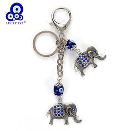 Auto dell'occhio blu online-Lucky Eye Blue Evil Eye Elephant Portachiavi di cristallo Elephant Pendent catena chiave auto portachiavi Aragosta fibbia gioielli regali EY4929