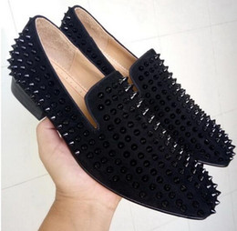 Wholesale Top Quality Leather Dress Shoe - New COOL TIRO Toafers Top Quality Red Bottom Men Women Shoes Fashion Black Suede With Black Spikes Loafers Rivets Flats Casual Dress Shoes