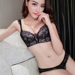 Wholesale Sexy Lingerie Small - Small thicken cup lace female intimates seamless fashion push up sexy women sexy underwear sets belt lingerie suits black white