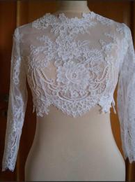 Wholesale Tulle Bridal Shrug - 2018 Delicate Lace Bridal Jackets Jewel Neck Cap Sleeves Illusion Appliques Tulle White Ivor Bridal Shrugs Bolero Wrap