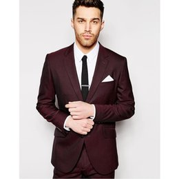 Wholesale suits neck designs for men - Custom Made New Design Burgundy Two Buttons Men Suit Groomsman Suit Wedding Suits For Men Prom Party Suits (jacket+pants)