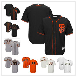 Wholesale giant girls - 2018 custom Men's women youth Majestic SF Giants Jersey #00 Any Your name and your number Home Orange Grey White Kids Girls Baseball Jersey