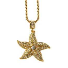 Wholesale White Gold Starfish Pendant - 2018 Gold Vacumm Plated Studded Rhinestone Starfish Pendant Necklace Fashion Jewelry Hip Hop Costume Jewelry Chain Length 75cm