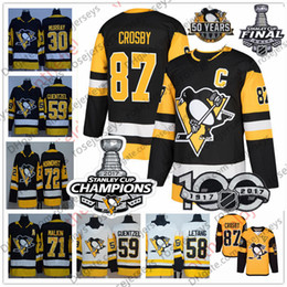 2020 patches de hockey de la coupe stanley Maillots des Champions Penguins de Pittsburgh 3 Trois Patches 50ème 100ème 2017 Coupe Stanley Sidney Crosby Guentzel Evgeni Malkin Kessel Murray Letang patches de hockey de la coupe stanley pas cher