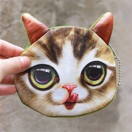 Wholesale coin box design - 3D Cat Cathead Purse Coin Mini Cute Key Bag Cartoon Animal Design Handbag Wallets Holders For Kids Best Gift New 2 9jo Z