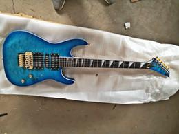 2019 chitarre elettriche ems GYJAK-0002 all'ingrosso all'ingrosso della fabbrica di colore blu trasparente strisce di tigre tastiera in palissandro 6 corde chitarra elettrica, spedizione gratuita