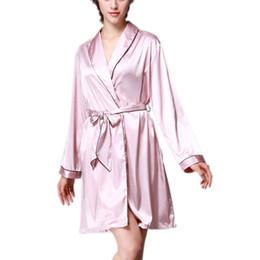 da43468706 SCECENT Sexy Women Robe Long-sleeve Home Solid Female Sleepwear Bathrobes  Luxury Silk Satin Short Night Women s Kimono Pajamas