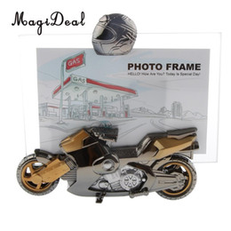 Wholesale Motorcycle Ornaments - MagiDeal Creative 7'' Motorcycle Model Photo Pictures Frame Table Standing Ornament Creative Home Office Decor