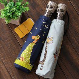 Wholesale Originals Umbrellas - Original novelty cute giraffe animal UV protect 3-folding automatic umbrella rain women, plegable paraguas mujer items