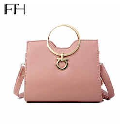 fashion sling bag girls Coupons - Sweet Fashion Female metal top-handle tote handbags double sling belt Ladies' delicate Leather shoulder bags Fresh Bag for girls