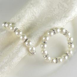 Anelli di tovagliolo di perla bianca d'imitazione Fibbia di tovagliolo di nozze per ricevimento di nozze Decorazioni per la tavola Forniture Anelli di tovagliolo da