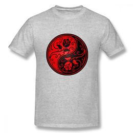 Anime Red And Black Yin Yang Roses T Shirt Unisex Ultimo Unico per l'uomo Regalo di San Valentino supplier yin yang red da yin yang rosso fornitori