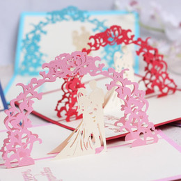 Hacer tarjetas de invitación online-Tarjeta de felicitación hecha a mano hecha a mano Diseño ahuecado Tarjeta de bendición 3D para las invitaciones de boda del día de San Valentín Delicado 4 YK BB