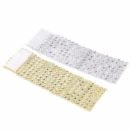Wholesale gold napkins - Plastic Napkin Rings Hotel Wedding  Chair Sash Diamond Mesh Wrap Napkin Rings For Party Decoration Gold Silver Black