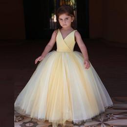 f2a99533cda Cheap Light Yellow Princess Flower Girls Dresses V Neck Sleeveless Puffy  Skirt Ankle Length Kid Holy Communion Dress