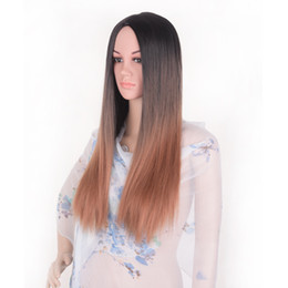 cosplay white straight long hair Coupons - Lace Front Wig Ombre Color 1B27 Straight Long Blonde Synthetic Wigs For Black White Women High Temperature Glueless Cosplay Hair Wigs