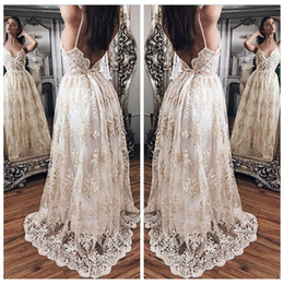 Wholesale Stunning Princess Prom Dresses - Stunning V-Neck Princess Prom Dresses Lace Appliques Spaghetti Straps Backless Evening Party Dress Sweep Train Evening Gowns